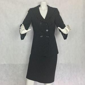 Armani Collezioni Suit Skirt Black Pinstripes Wool